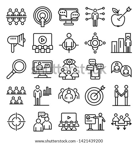 Audience icons set. Outline set of audience vector icons for web design isolated on white background