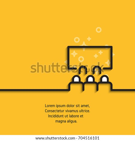 Audience in room cinema, conference or video presentation concept banner on yellow background with sample text. Contour graphic image for your design projects. Black line icon