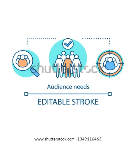 Audience needs concept icon. Public speaking. Target audience. Lead generation. Community, society.  Group of people. Protest, meeting thin line illustration. Vector isolated drawing. Editable stroke