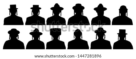 Audience of God's chosen people. Jewish head profile avatar icons. People portrait Israelite. Silhouette vector set ストックフォト ©