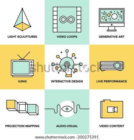 Audio and creative design process, video projection mapping, vjing and generative art, interactive and live performance concept. Flat line icons modern style vector illustration set.