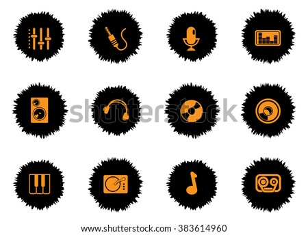 audio and music icons set for