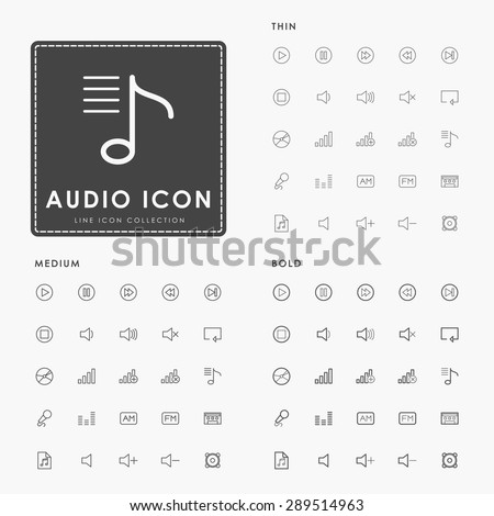 audio and music on thin, medium and bold line icons concept