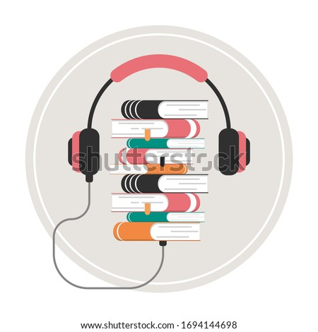 Audio book concept vector isolated. Online education and learning. Internet library, interesting literature in the headphones. Сток-фото ©