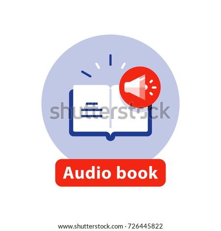Audio book flat icon, listen literature, vector illustration
