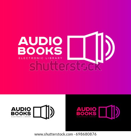 Audio book logo. The book icon and sound icon are connected. Literature emblem. Electronic audio library logo. Open book and sound. Identity.