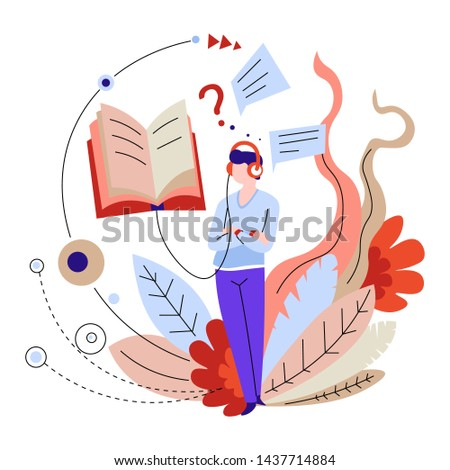 Audio books or textbooks listening online education and distant learning vector man in headphones or earphone studying Internet library and records playing modern technology training or courses.