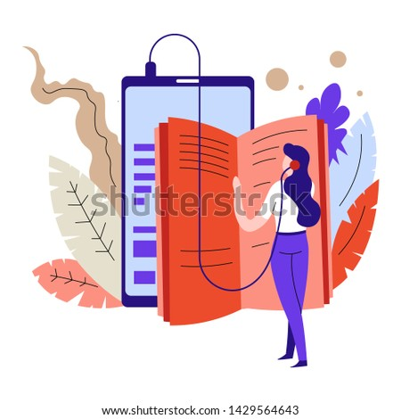 Audio books or textbooks listening online education and distant learning vector woman in headphones or earphone studying Internet library tablet or device modern technology training or courses.