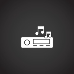 Audio car related icon on background for graphic and web design. Simple illustration. Internet concept symbol for website button or mobile app.