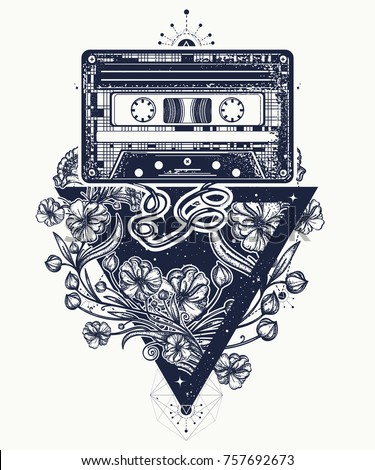 Audio cassette and graceful flowers in mystical triangle tattoo and t-shirt design