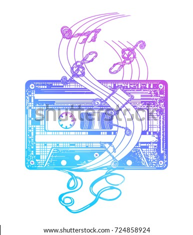 Audio cassette and music notes. Symbol of retro music, nostalgia, 80th and 90th tattoo and t-shirt design