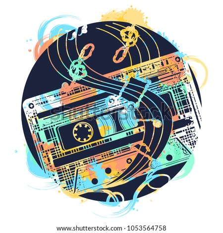 Audio cassette and music notes tattoo and t-shirt design. Symbol of retro music, nostalgia, 80th and 90th