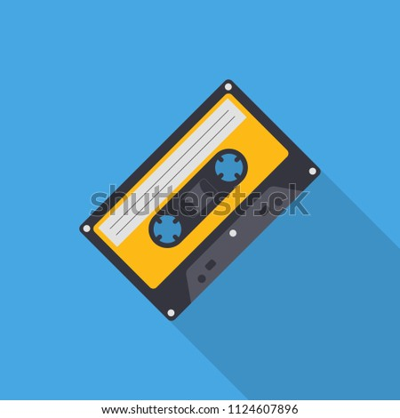 Audio cassette flat icon with long shadow isolated on blue background. Simple cassette sign symbol in flat style. Music element Vector illustration for web and mobile design.