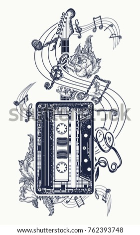 Audio cassette, guitar music notes tattoo and t-shirt design. Retro music, nostalgia, 80th and 90th