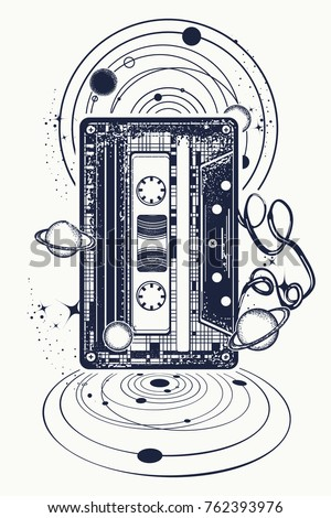 Audio cassette, music notes and universe tattoo and t-shirt design. Symbol of retro music, nostalgia, 80th and 90th. Old audio cassette and music notes, symbol of pop music, disco t-shirt design