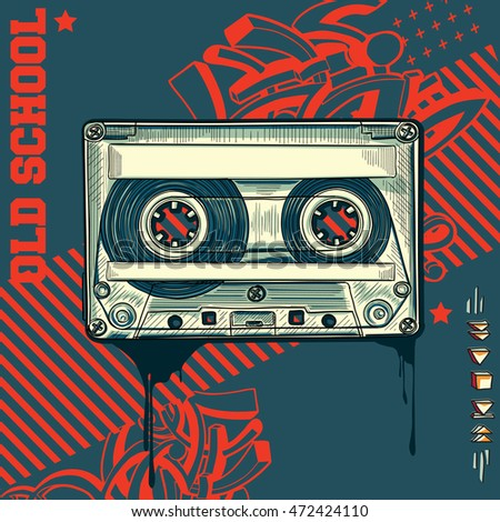 Audio cassette on graffiti background