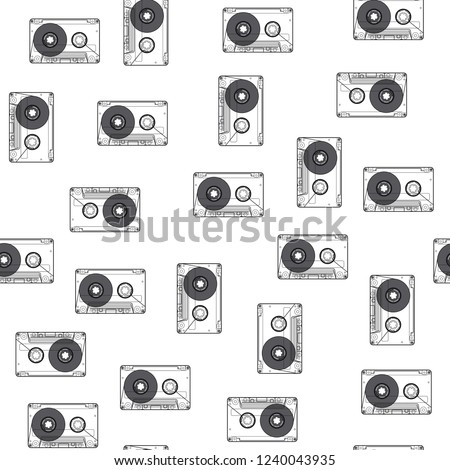 Audio cassette seamless pattern on white background. Retro background with audio cassettes