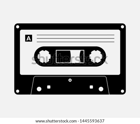 Audio cassette tape isolated vector old music retro player. Retro music audio cassette 80s blank mix.