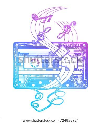 Audio cassette tattoo and t-shirt design. Audio cassette and music notes. Symbol of retro music, nostalgia, 80th and 90th. Old audio cassette and music notes,  pop music, disco t-shirt design