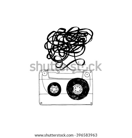 Audio cassette with tangled tape.Vector.