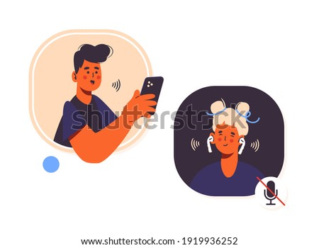 Audio chat conversation in clubhouse app. Voice message in social network. Room with speaker. Wearing headphones and listening to music or podcast. Trendy vector illustration isolated on white.