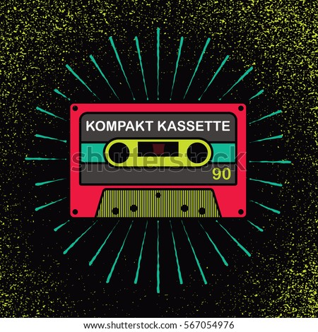 Audio compact cassette tape. Vintage icon with rays. Vector illustration on grunge texture background.