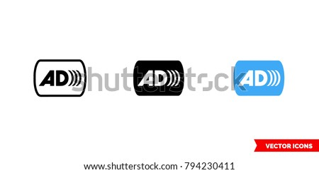 Audio description icon of 3 types: color, black and white, outline. Isolated vector sign symbol.