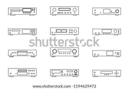 Audio equipment. CD player. Amplifier. Network player. Thin line vector