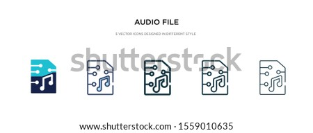 audio file icon in different style vector illustration. two colored and black audio file vector icons designed in filled, outline, line and stroke style can be used for web, mobile, ui