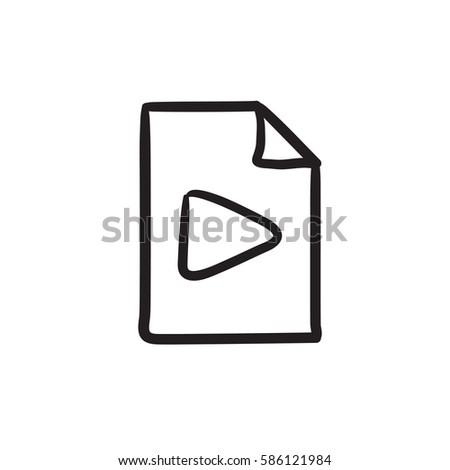 Audio file vector sketch icon isolated on background. Hand drawn Audio file icon. Audio file sketch icon for infographic, website or app.