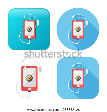 audio headphone and mobile icon - music headset symbol