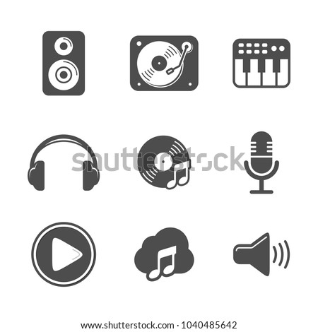Audio Icon Set Design Black Version