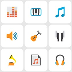 Audio icons flat style set with synthesizer, gramophone, earpiece and other audio elements. Isolated vector illustration audio icons.