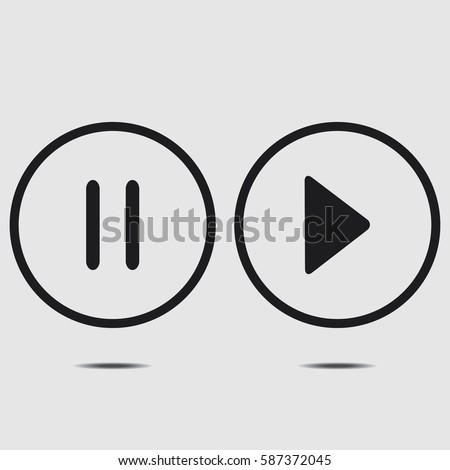 Audio icons. Play and pause buttons. Vector illustration.