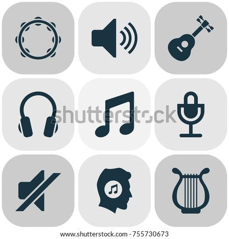 Audio Icons Set. Includes Icons Such As Sound, Silence, Earphone And Other.