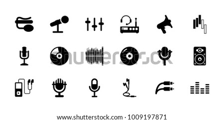 Audio icons. set of 18 editable filled audio icons: disc, volume, equalizer, microphone, pin microphone, loudspeaker, earphones, earphone wire, cd, listening device