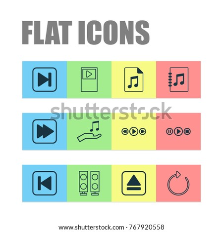 Audio icons set with document, following song, song UI and other music control elements. Isolated vector illustration audio UI icons.