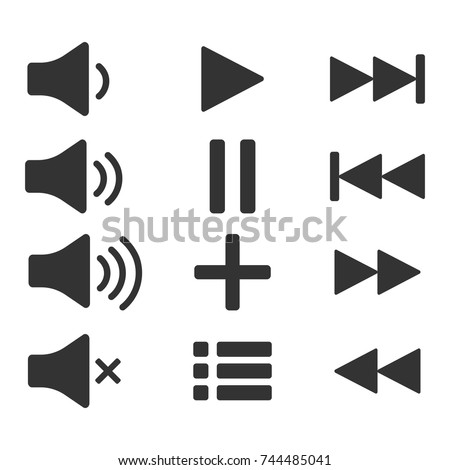 Audio icons. Sound buttons. Play button. Pause sign. Symbol for web or app. Vector illustration on white background.