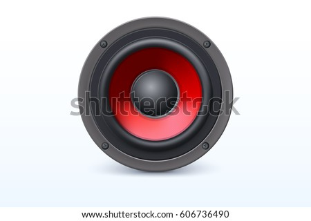 Audio loud speaker with red diffuser isolated on white background. Vector illustration, eps10