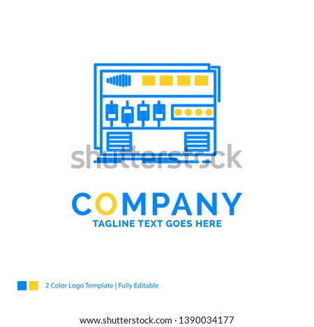 Audio, mastering, module, rackmount, sound Blue Yellow Business Logo template. Creative Design Template Place for Tagline.