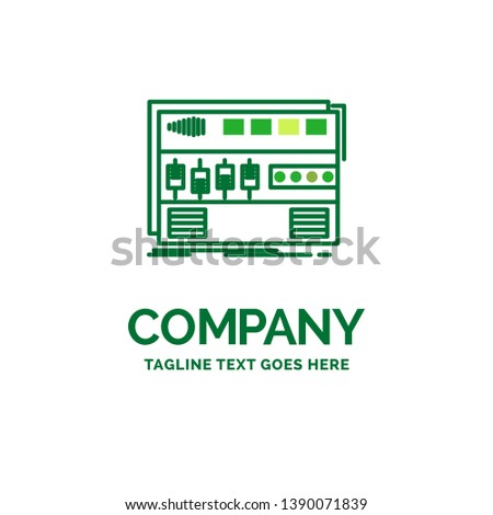 Audio, mastering, module, rackmount, sound Flat Business Logo template. Creative Green Brand Name Design.