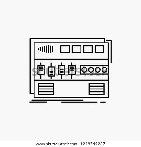 Audio, mastering, module, rackmount, sound Line Icon. Vector isolated illustration