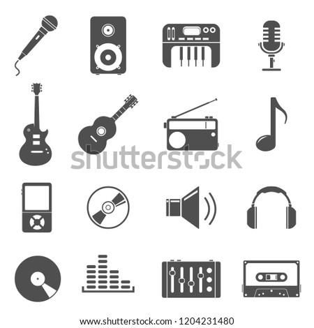 Audio Media UI Icon Set Illustration.
