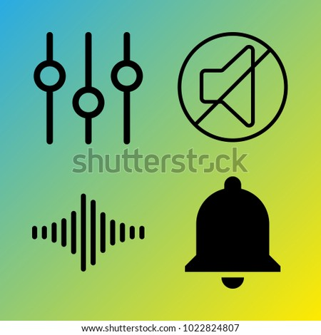 Audio Media vector icon set consisting of 4 icons about frequency, bell, notification, mute, sound bars, sound, sound bar and sound controller
