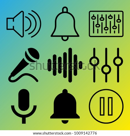 Audio Media vector icon set consisting of 9 icons about microphone, bell, sound bar, sound controller, sound, notification, frequency, pause, voice record and sound bars