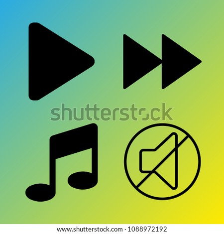 Audio Media vector icon set consisting of 4 icons about music, note, melody, sound, play, fast forward, mute, fast forward button and play button