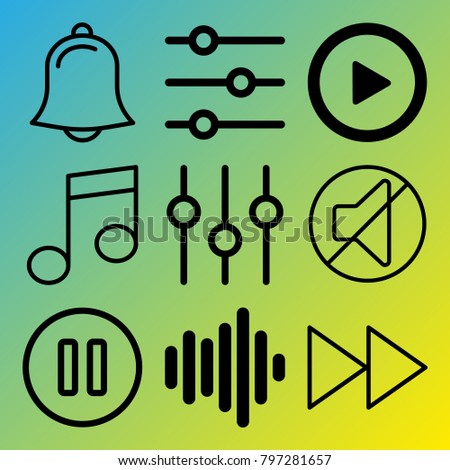Audio Media vector icon set consisting of 9 icons about note, pause button, play, notification, melody, fast forward button, bell, mute, play button and sound bar