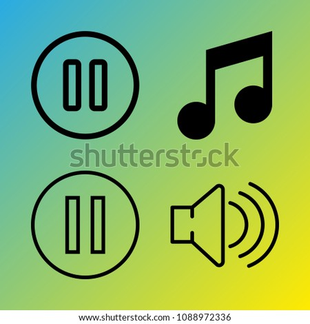 Audio Media vector icon set consisting of 4 icons about pause, melody, pause button, note, music and sound
