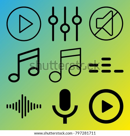 Audio Media vector icon set consisting of 9 icons about sound, microphone, play button, sound bar, sound controller, sound bars, frequency, music, equalizer and mute