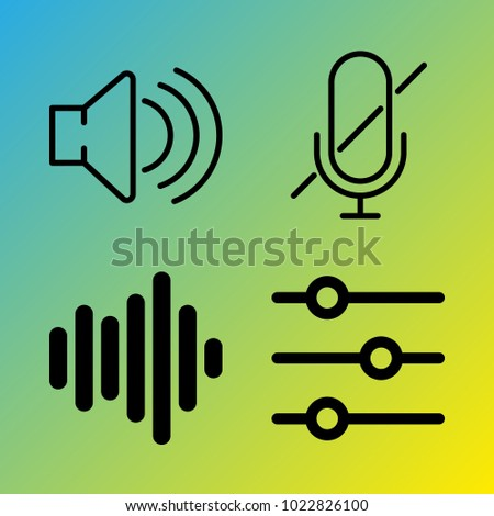 Audio Media vector icon set consisting of 4 icons about sound, microphone, voice record, mute, sound bars, frequency, muted, sound bar and sound controller